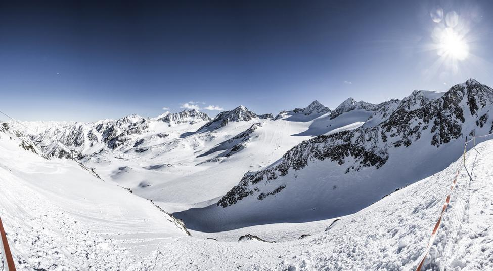 Stubai Glacier ski area and mountain landscape