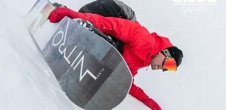 Snowboarder with red jacket