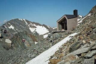 Mountain chapel with view of the ski area