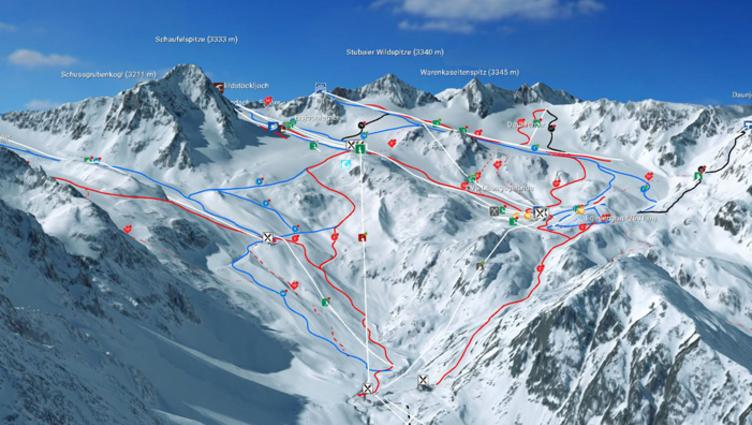 3D piste map of the Stubai Glacier