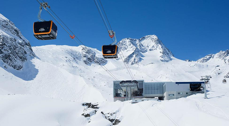 New mid-station of the 3S Eisgratbahn in the winter